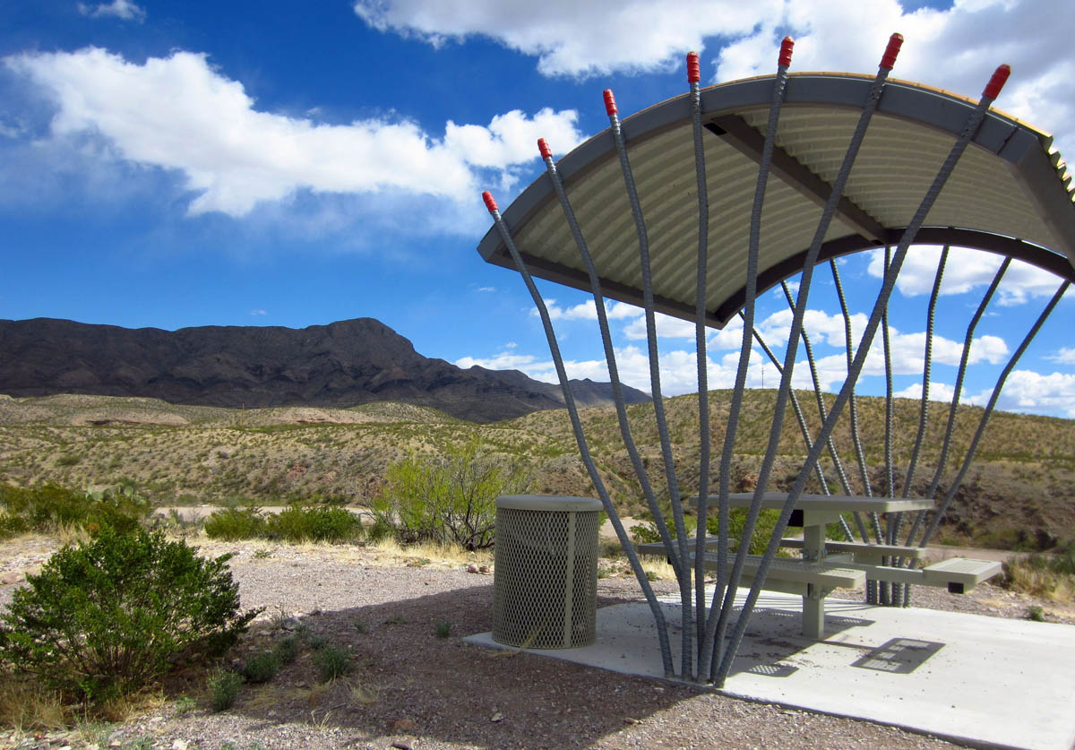 "Rest area designed after the Ocotillo, along the ""Healing Waters Trail"" in T or C."