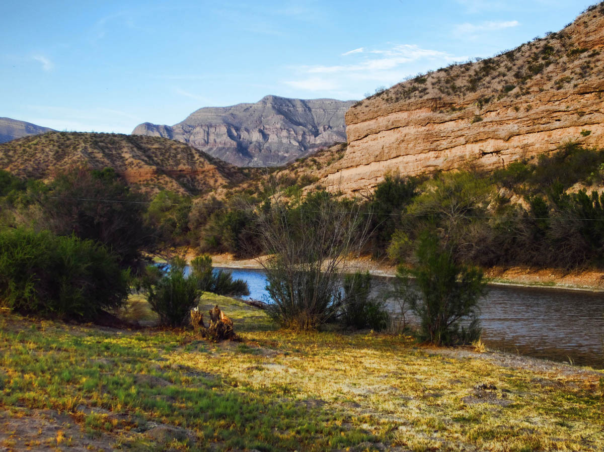 Their beautiful dry-camping spot along the river at Caballo State Park, NM