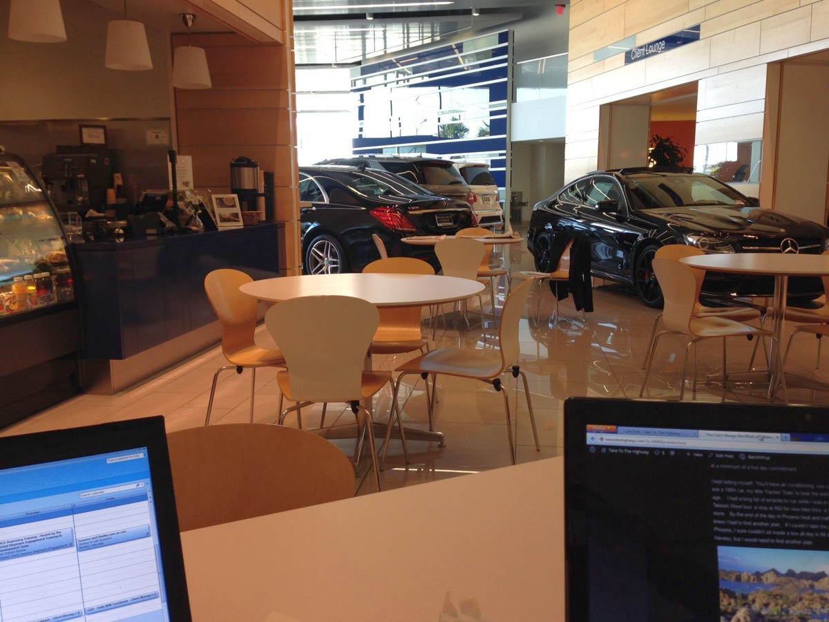 "The ""S-Class Cafe"" waiting area."