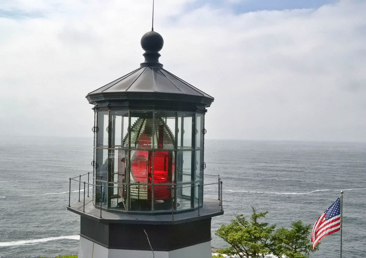 Since the lighthouse is only 38 ft tall, it is possible to look eye to eye with the Fresnel lens.