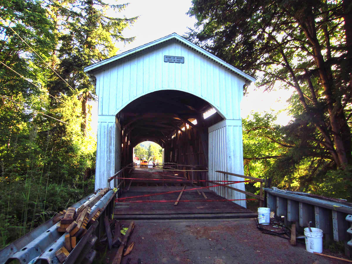 "Mosby Creek Bridge, built 1920, the only ""drive thru"" is closed until Sept."