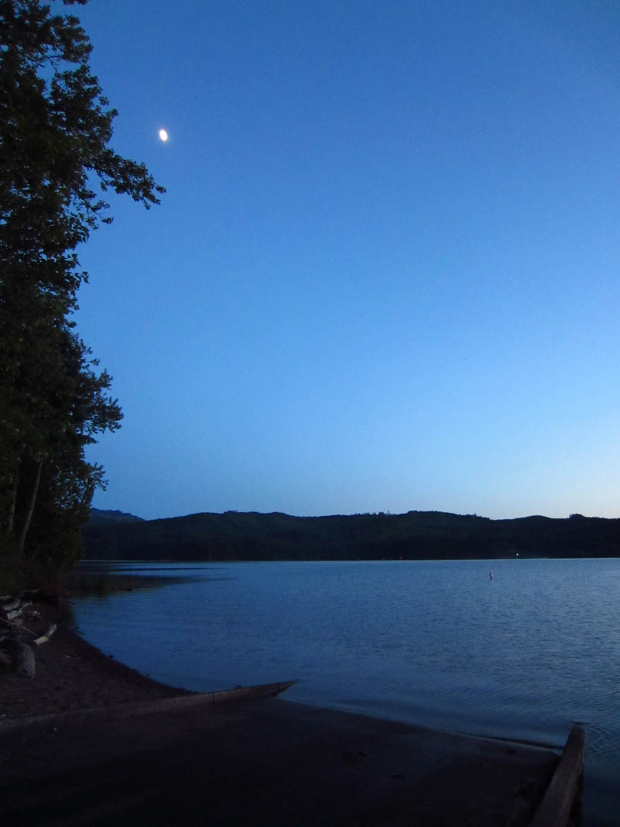 Moonlight over Dorena Lake Boat Ramp.  Oh so tempting!