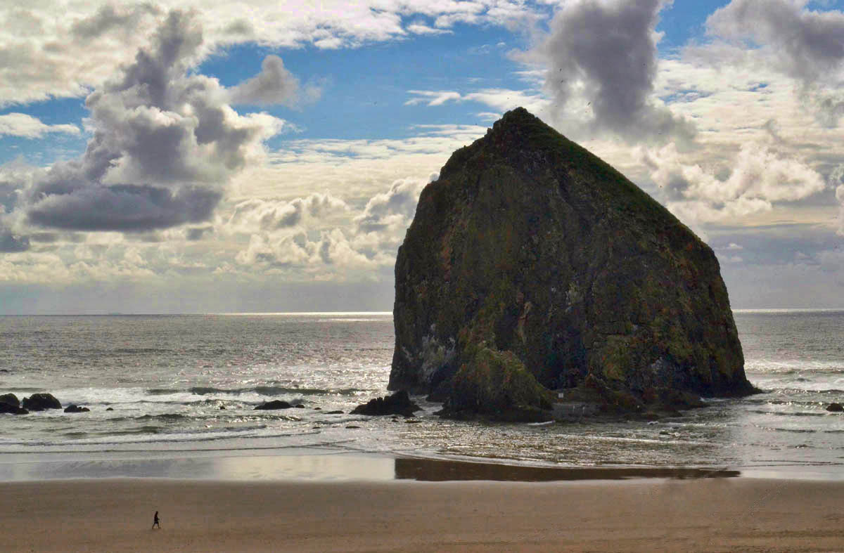 Haystack Rock, Cannon Beach.  (Note person in lower left for perspective of 235 ft rock.)