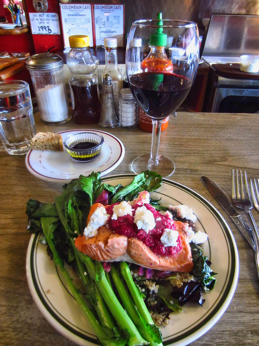Salmon with Beet Pesto, and Grilled Rapini
