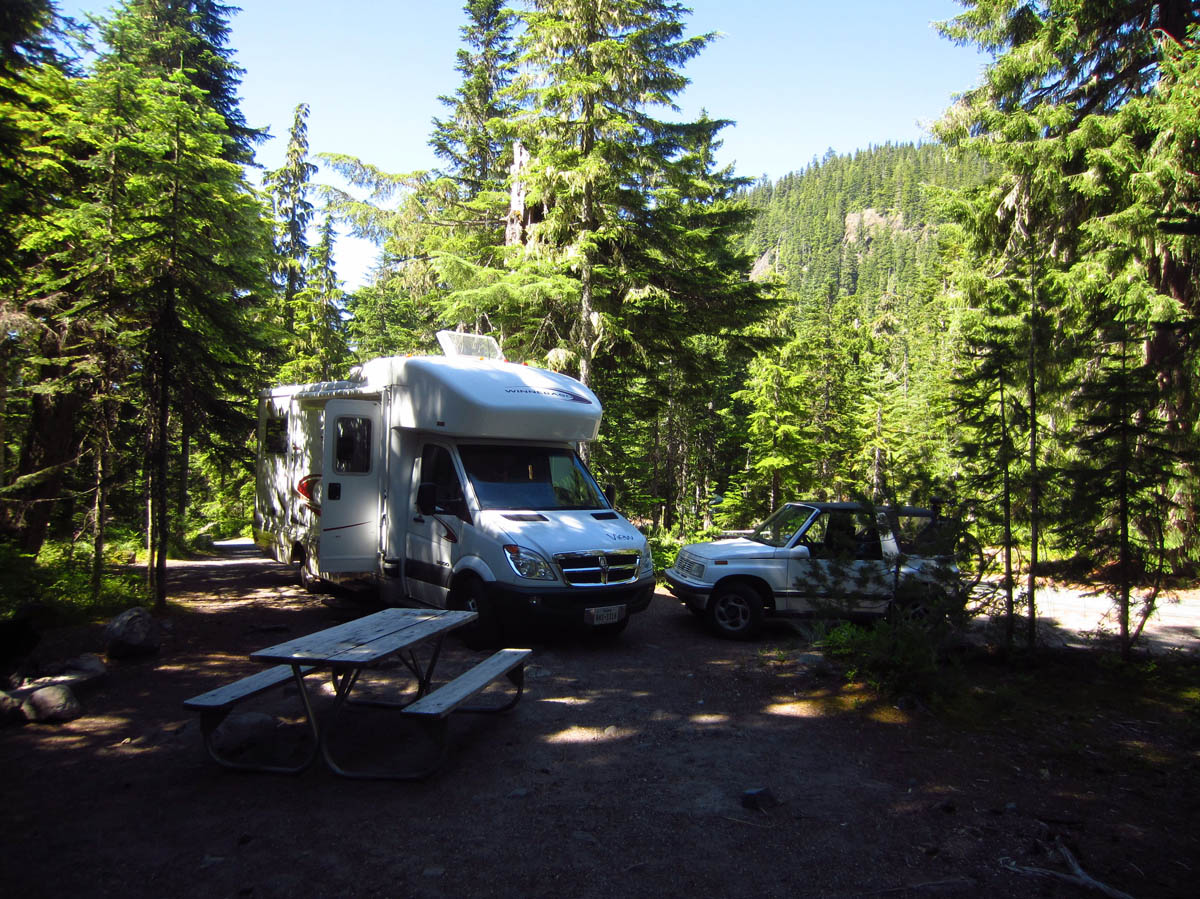 Campsite A9 in Cougar Rock.  Sun where you want it....shade where you don't!