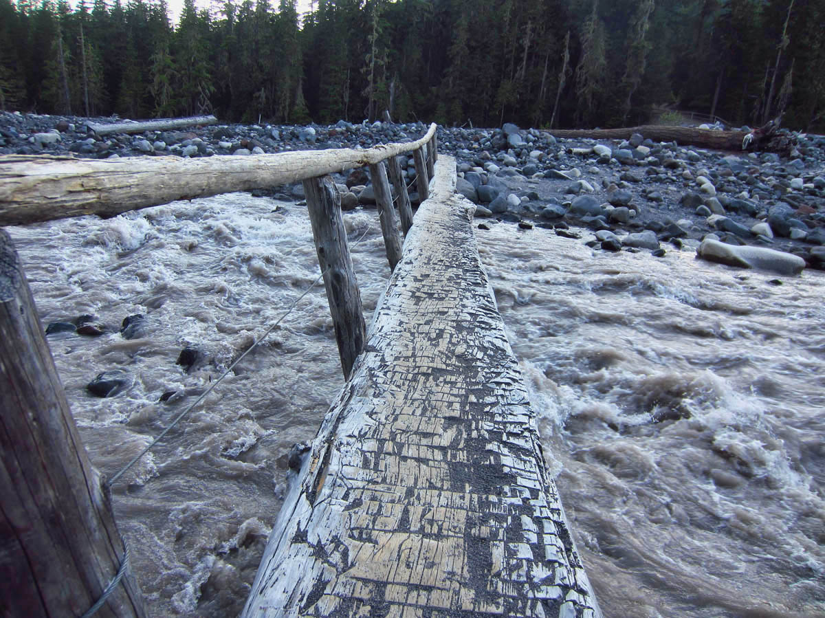 Crossing the Nisqually River -- A very fast moving stream!