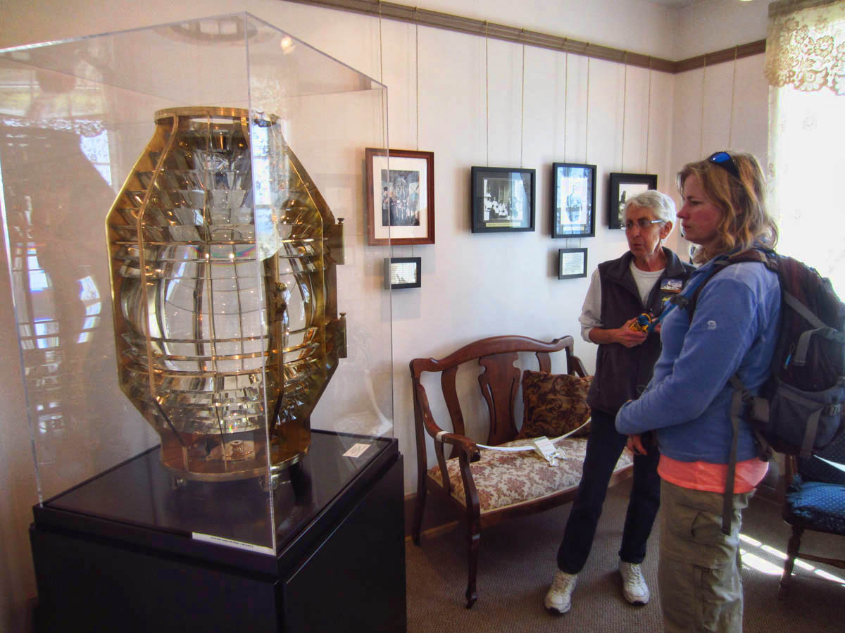 """Nina and our Lighthouse Host, also a member of the Board, """"talk Fresnel"""""""