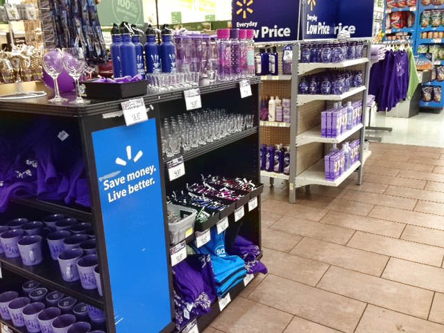 Even Walmart gets in on the action with their purple displays