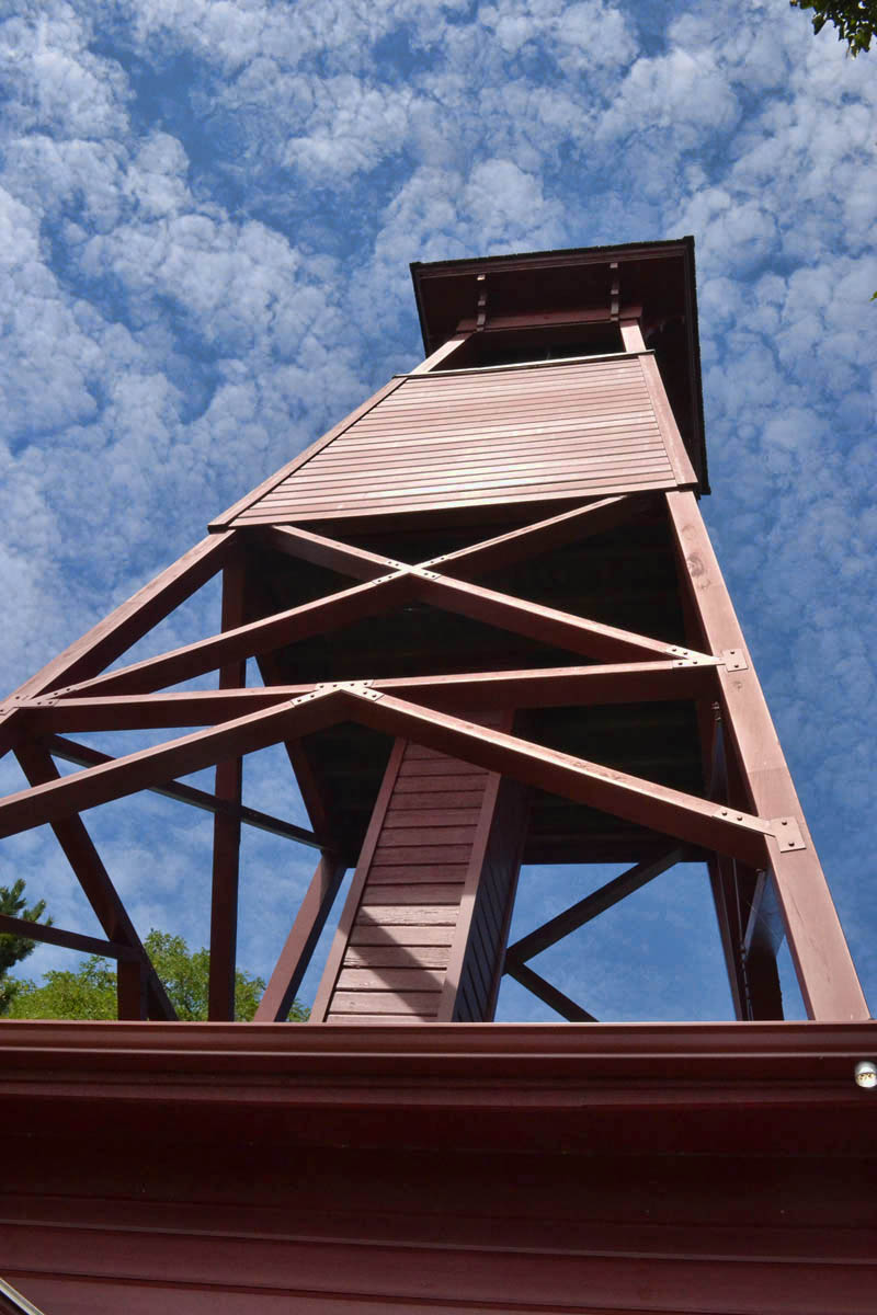 Bell Tower, 1890, used to call volunteer firemen to their post.  It is the only known tower of its kind in the US.