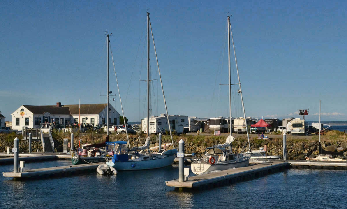 Point Hudson Marina -- Land Yachts on one side and sea yachts on the other..