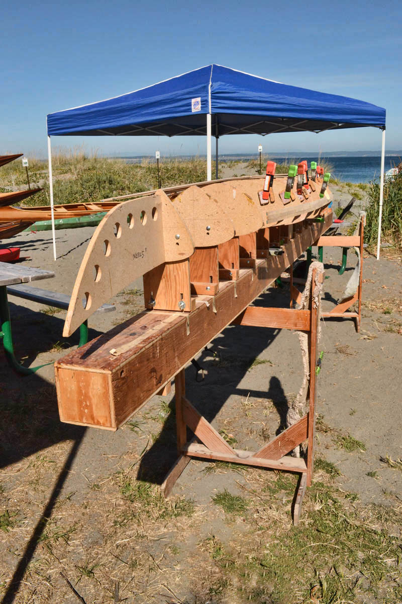 A kayak in the process of being constructed.