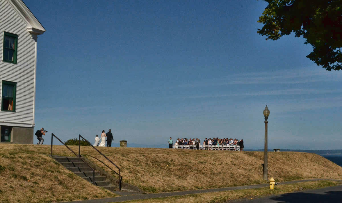Wedding at Fort Worden, overlooking Point Wilson lighthouse.