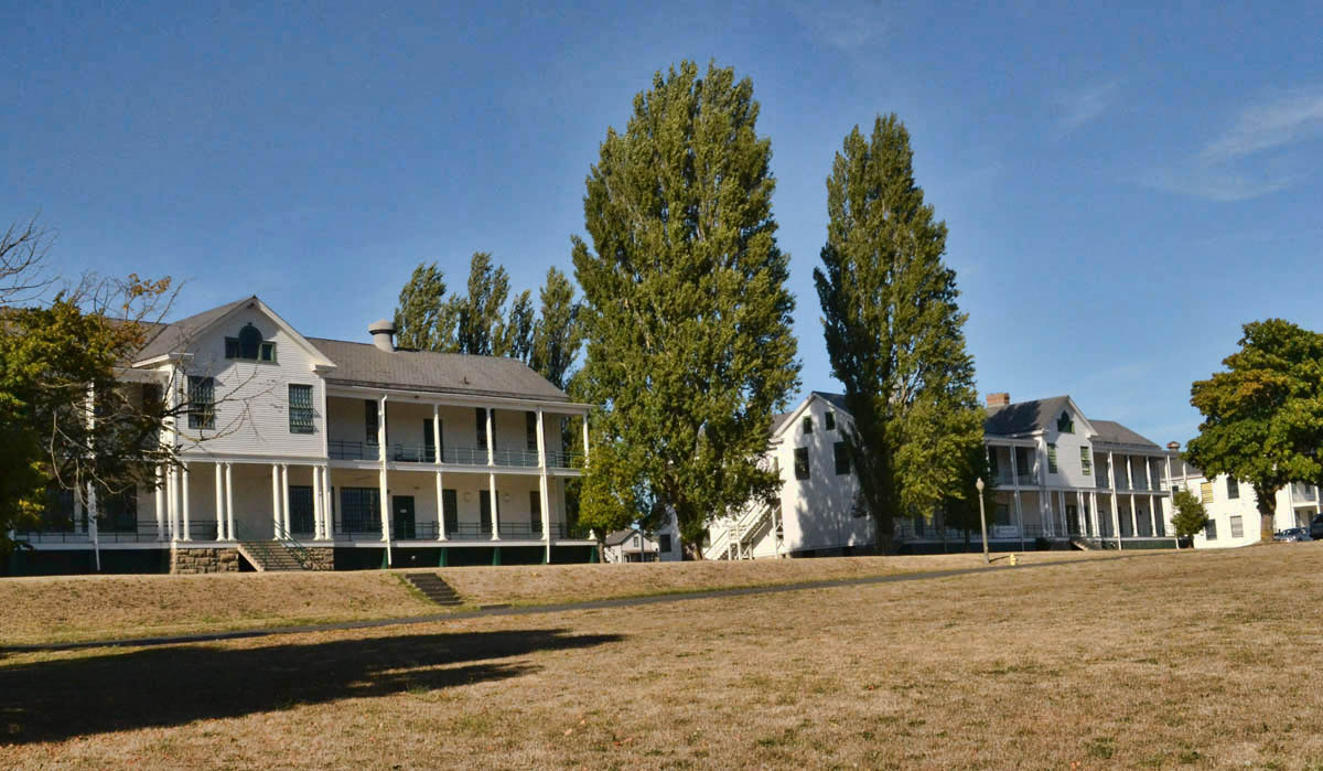 "Old barracks at Fort Worden, location for filming of ""Officer and a Gentleman."""