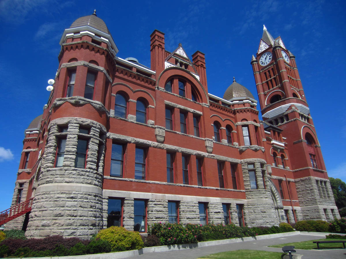 Romanesque Jefferson County Courthouse, 1891, complete with clock tower and turrets.