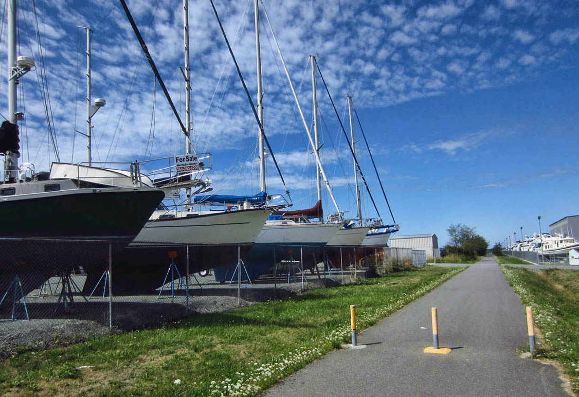 I love that part of the trail runs right through the boatyard!