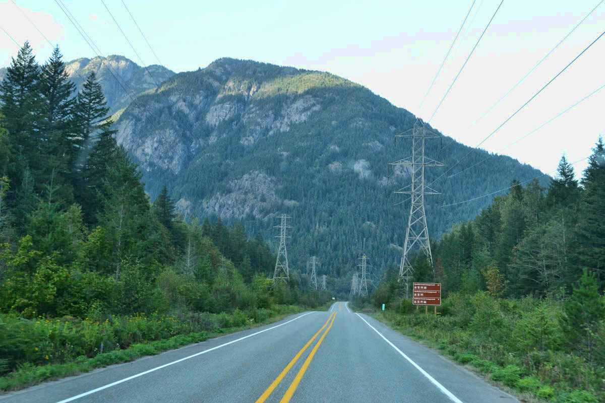 What's wrong with this picture?  Power lines lead the way along Hwy 20 to North Cascades