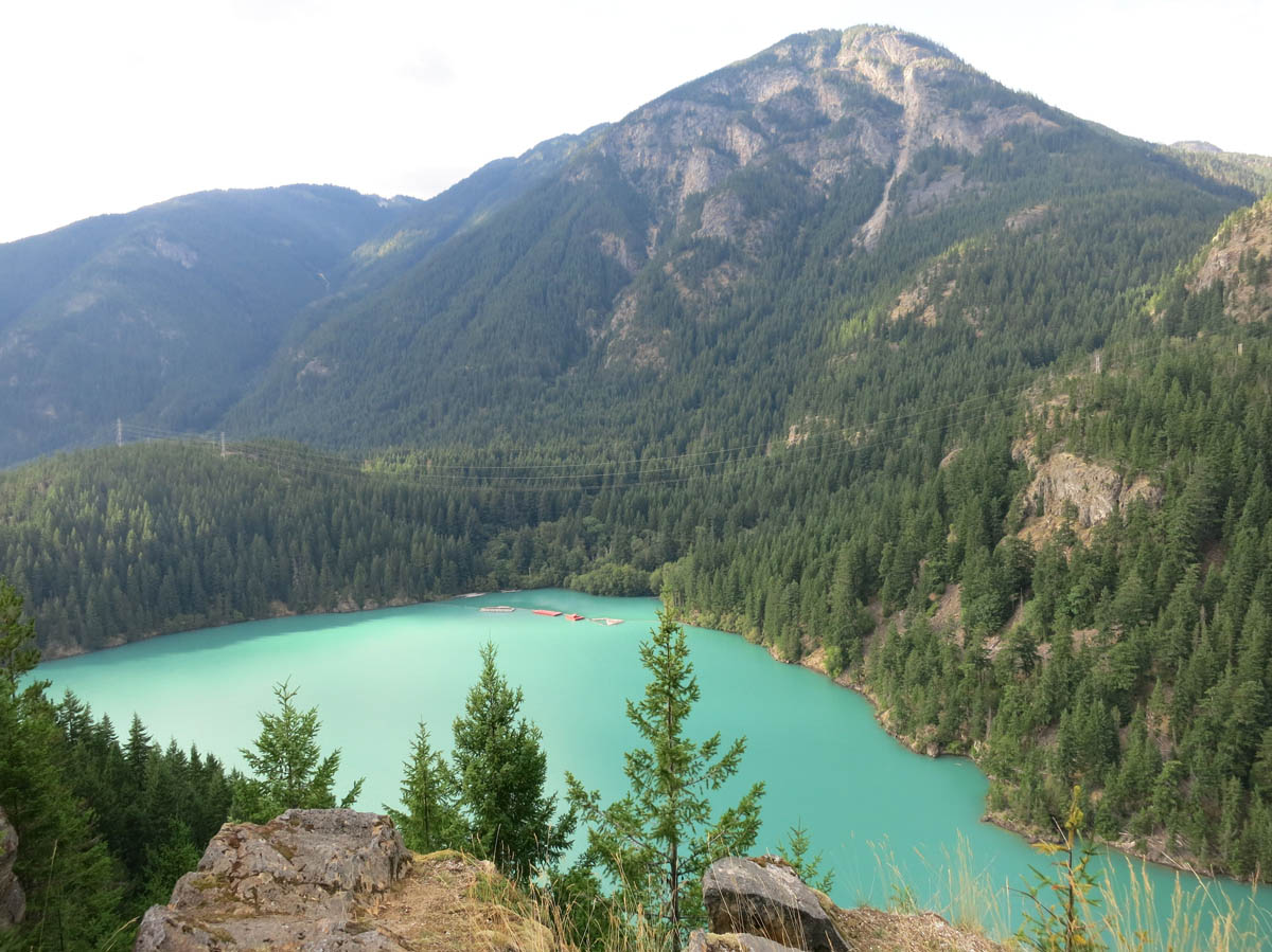 "Lake is beautiful turquoise due to glacial ""flour,"" or silt."