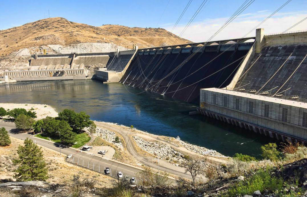 Grand Coulee Dam, opened 1942, impounds Columbia River