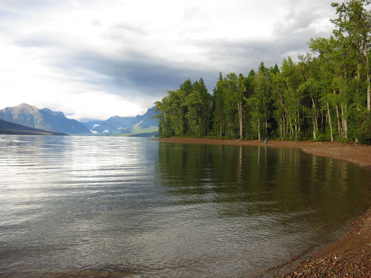 Apgar Campground is right along shore of Lake McDonald
