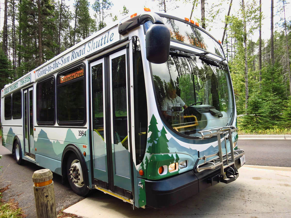 Regular-sized buses go from Apgar CG to Avalance Trailhead -- sit on left.