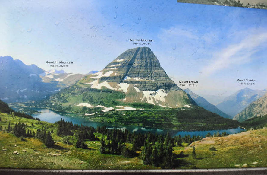 Here's the photo I was going for (Bearhat Mountain from the information board at the Hidden Lake Overlook.)