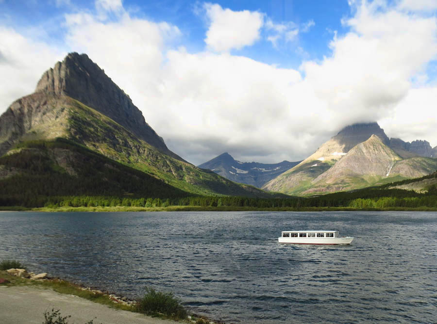 Boat tours are available across Swiftcurrent Lake