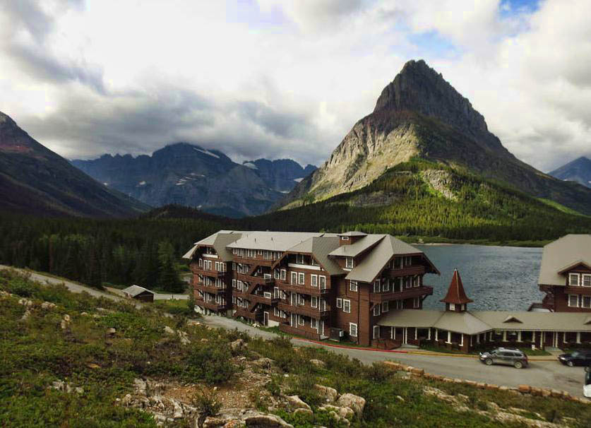 Many Glacier Hotel, with Grinnell Peak in the background