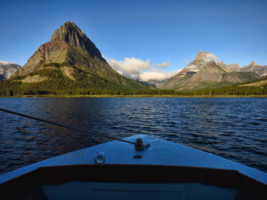 "Aboard ""Chief Two Guns"" headed across Swiftcurrent Lake."