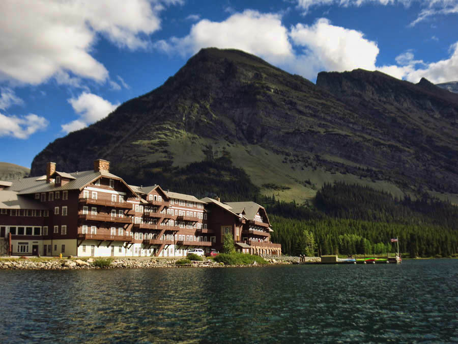 View of Many Glacier Lodge from Swiftcurrent Lake