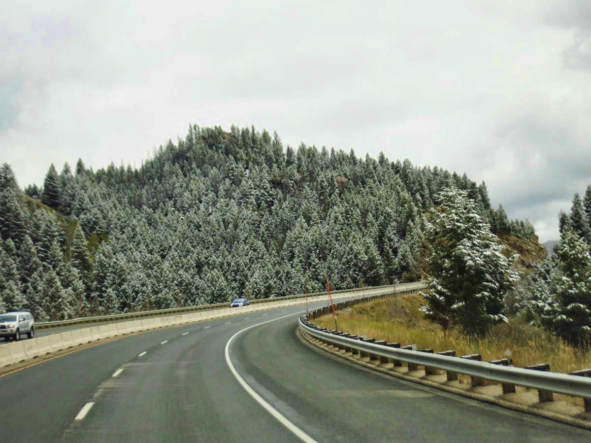 Beautiful dusting of snow over the pass just outside of Butte, MT.