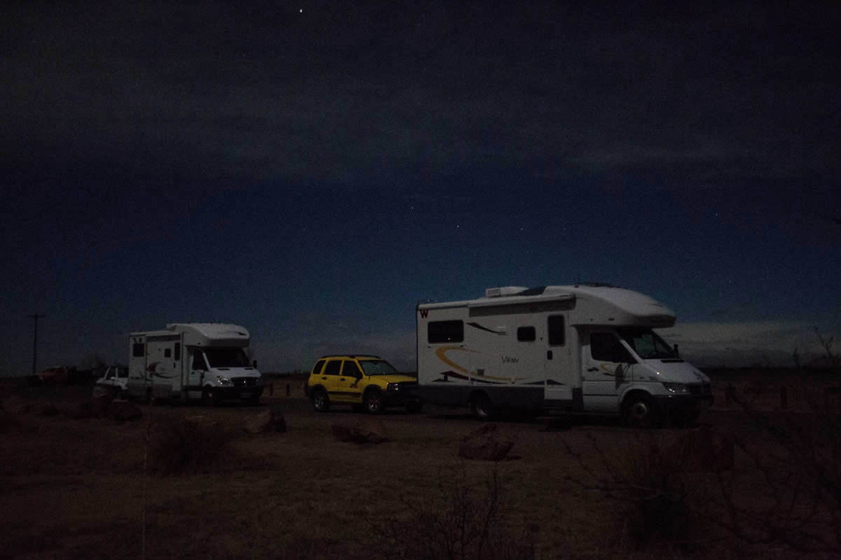 Waiting for the Lights of Marfa, with Lynne and Millie in Marfa, TX, Mar '14