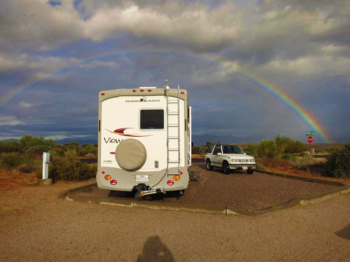 After two days of rain in Valley of Fire, I arrive at McDowell to a rainbow!