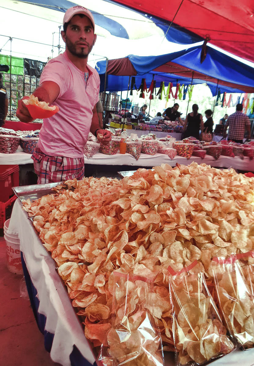 Fresh fried potato chips.  I had mine with chili and lime.