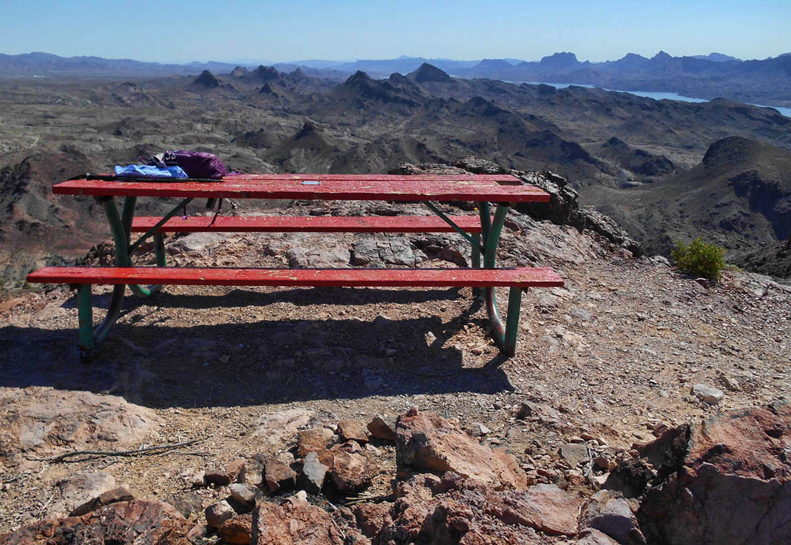 "Finally, I reach the infamous ""picnic table,"" hauled up to the top of Table Mountain by the Leaping Lizard Tribe."