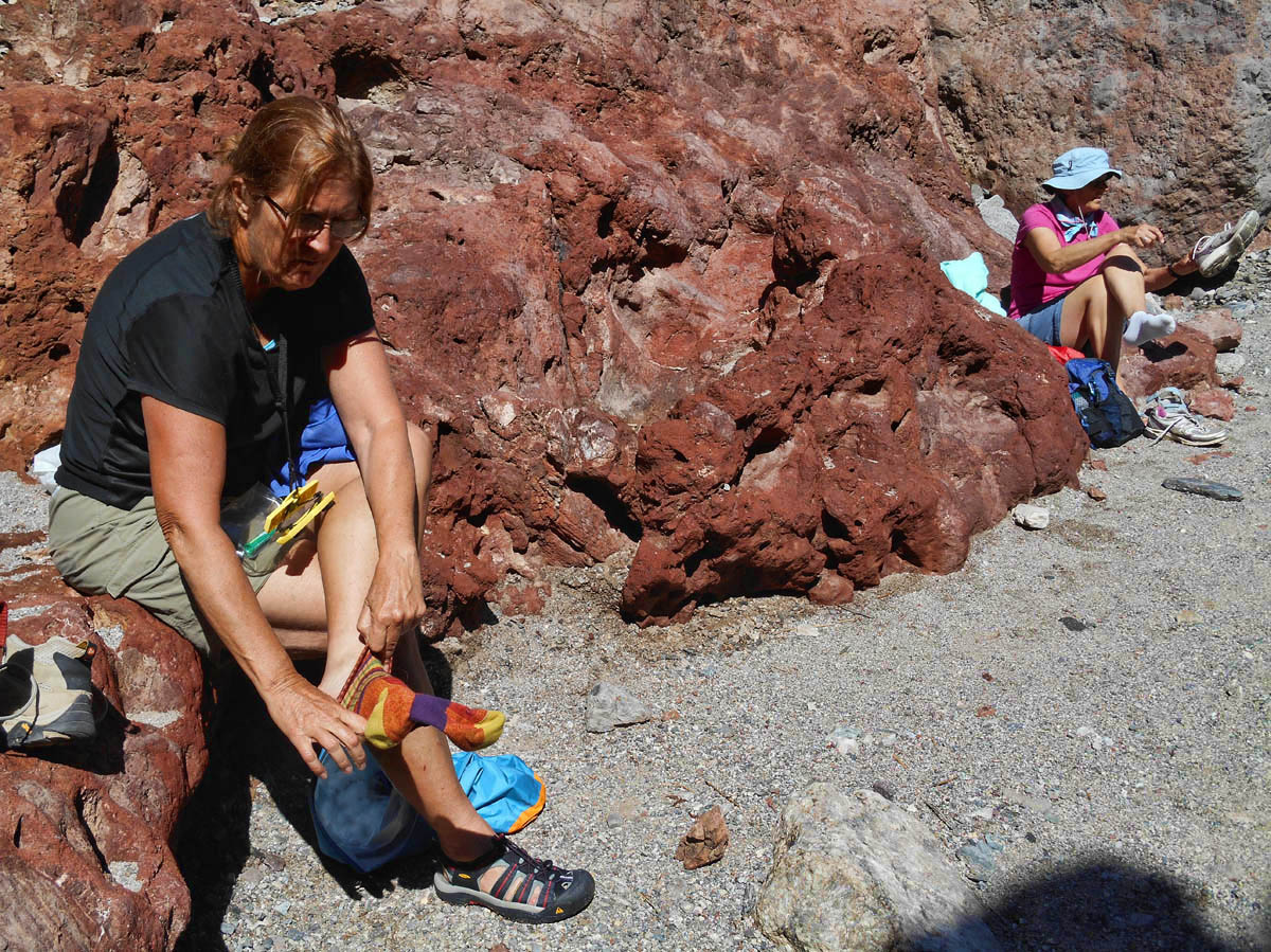 Once through the hot springs, we stop for a shoe change...