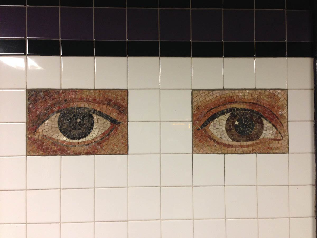 """Oculus,"" mosaic subway tiles based on 300 different eye photos of Manhattanites.  World Trade Center Station, A Train."