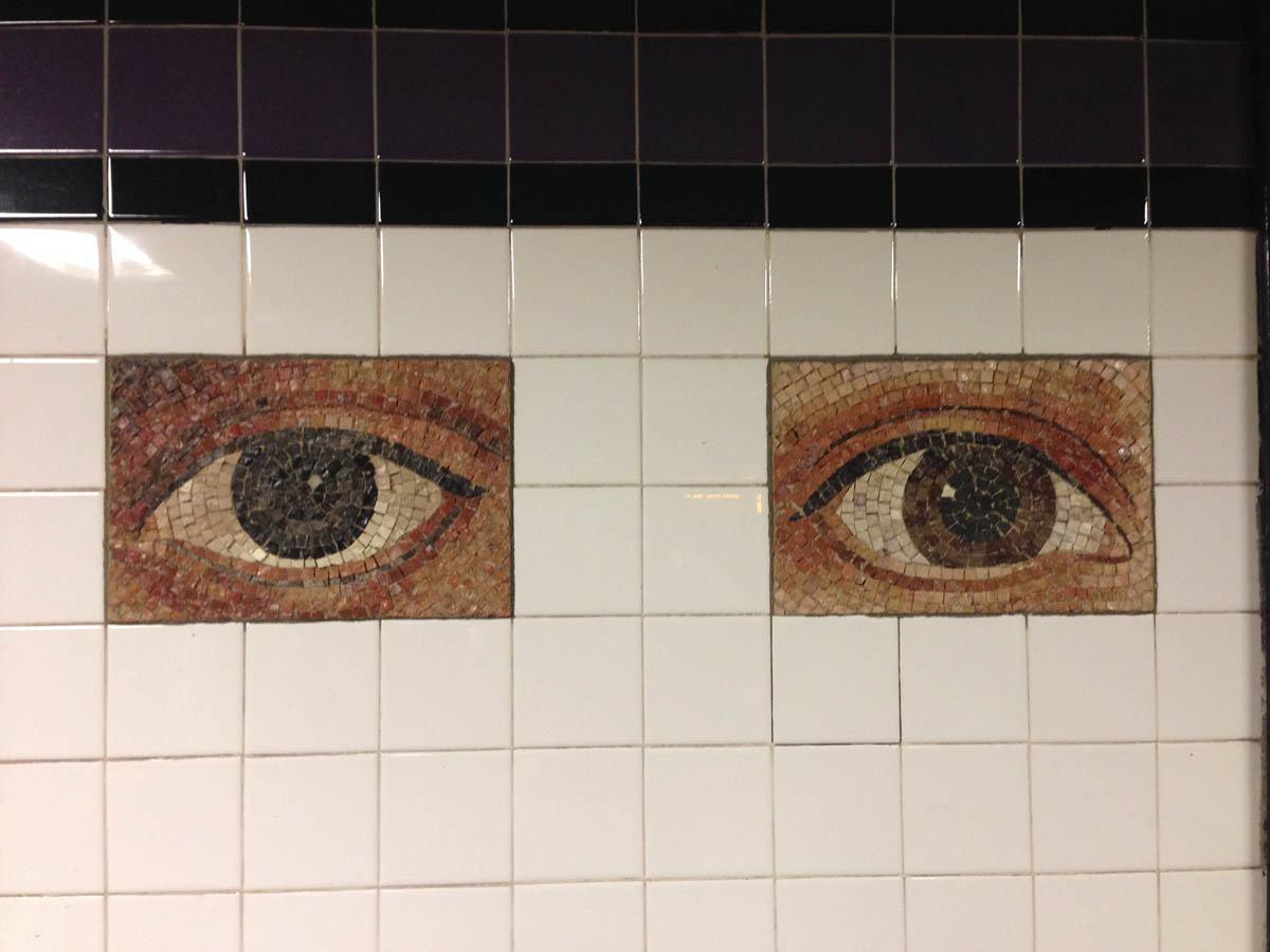 """Oculus,"" mosaic subway tiles based on 300 different eye photos of Manhattanites.  World Trade Center Station, A Train."