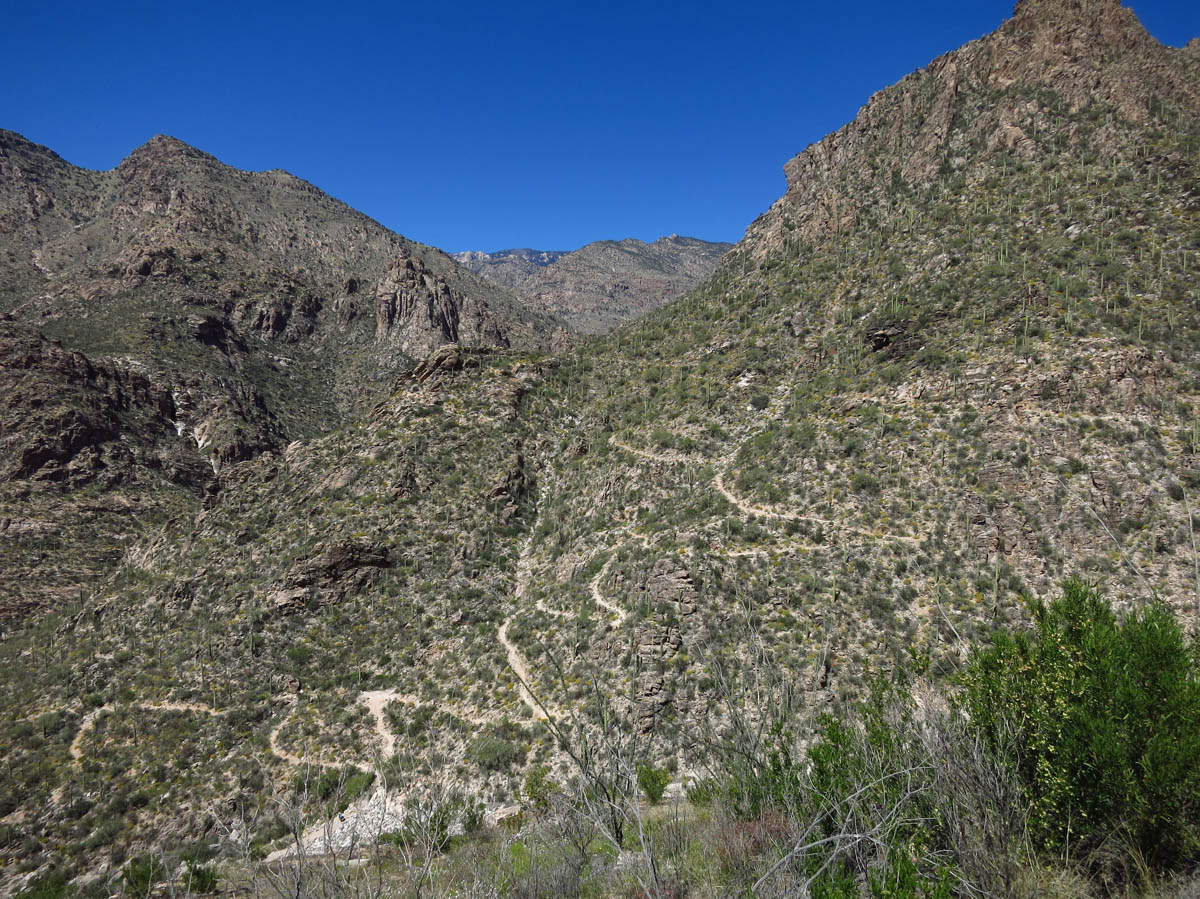 Switchbacks to return down from Telephone Trail.