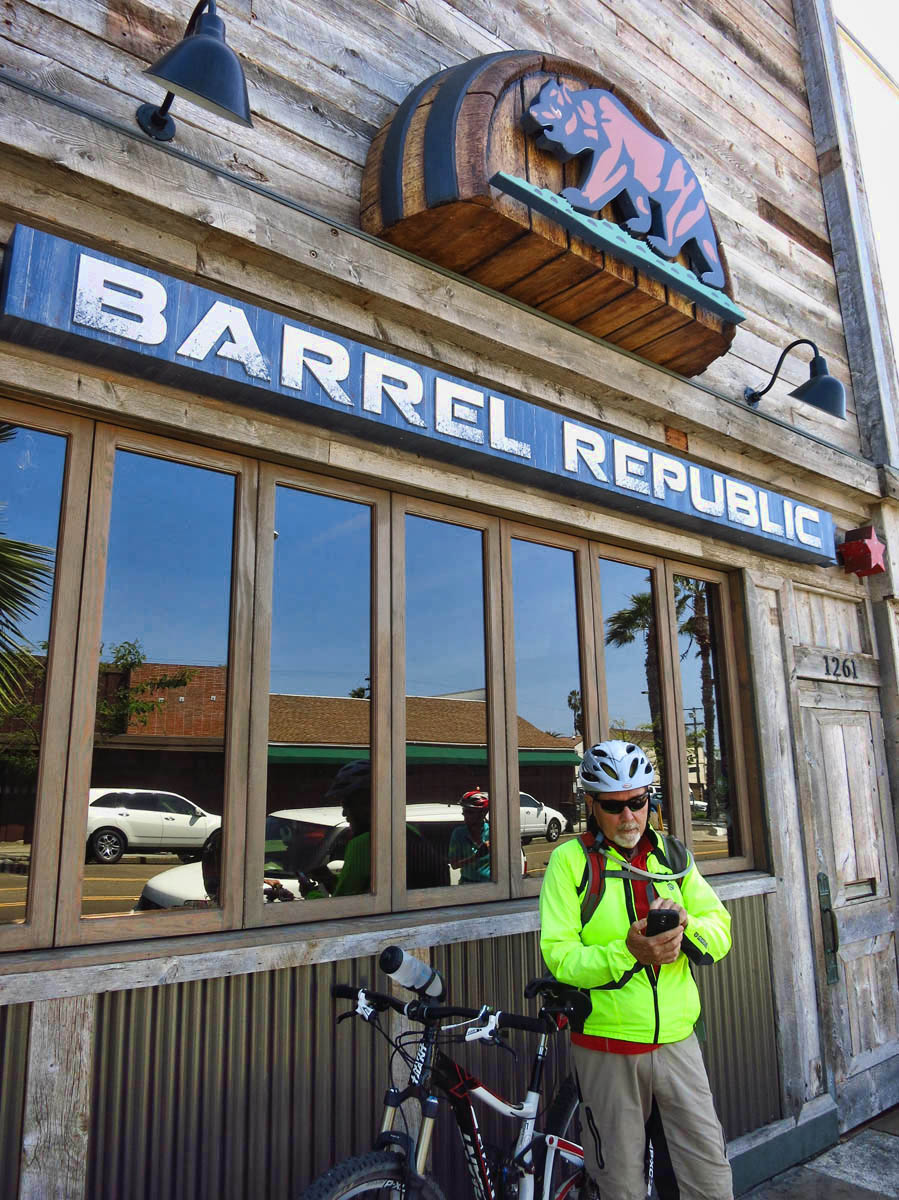 "Jim checks the hours of Barrel Republic.  They are closed, but ""Ve'll be baaaack!"""