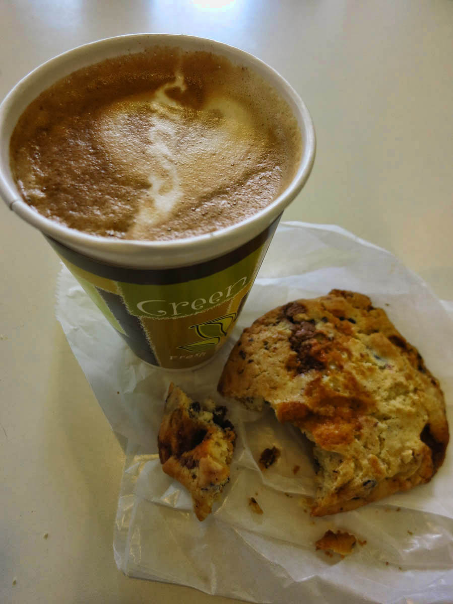 The Notorious Scrap Cookie and a Latte -- Guaranteed to bring