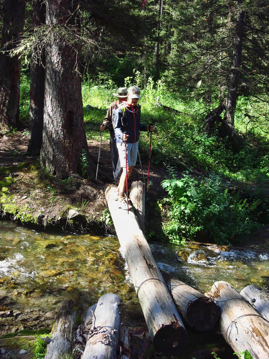 We must navigate three stream crossings to get to Blaie Basin.