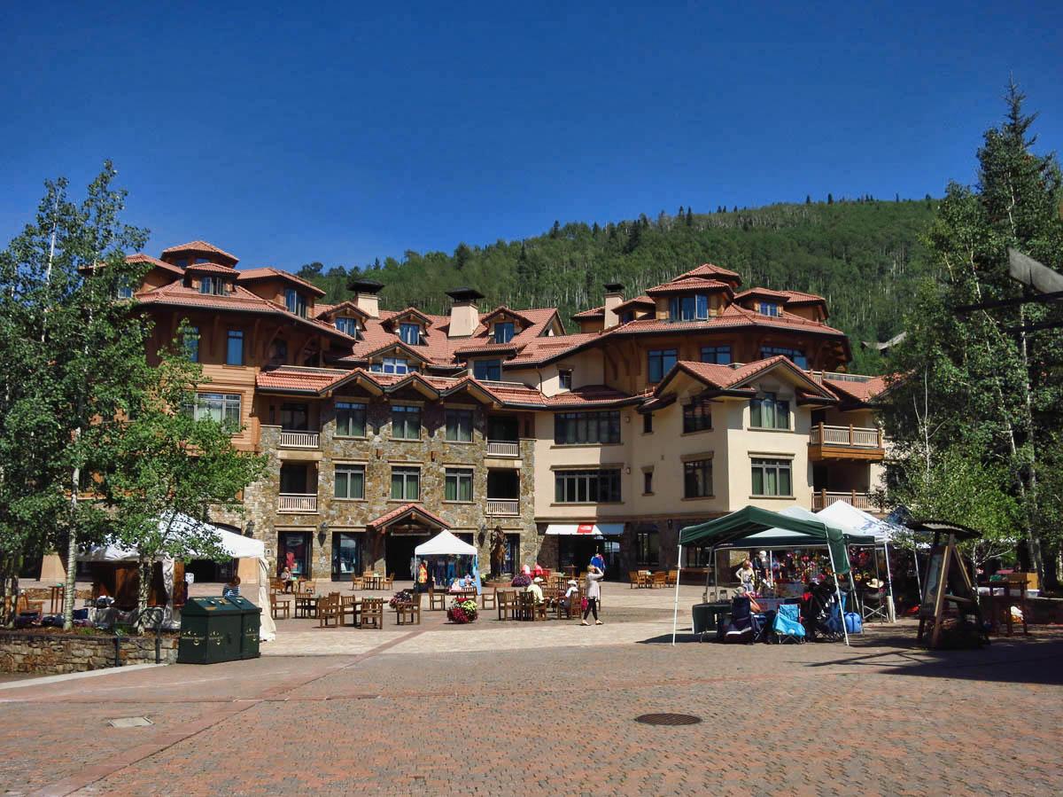 Main courtyard of Mountain Village Ski Resort