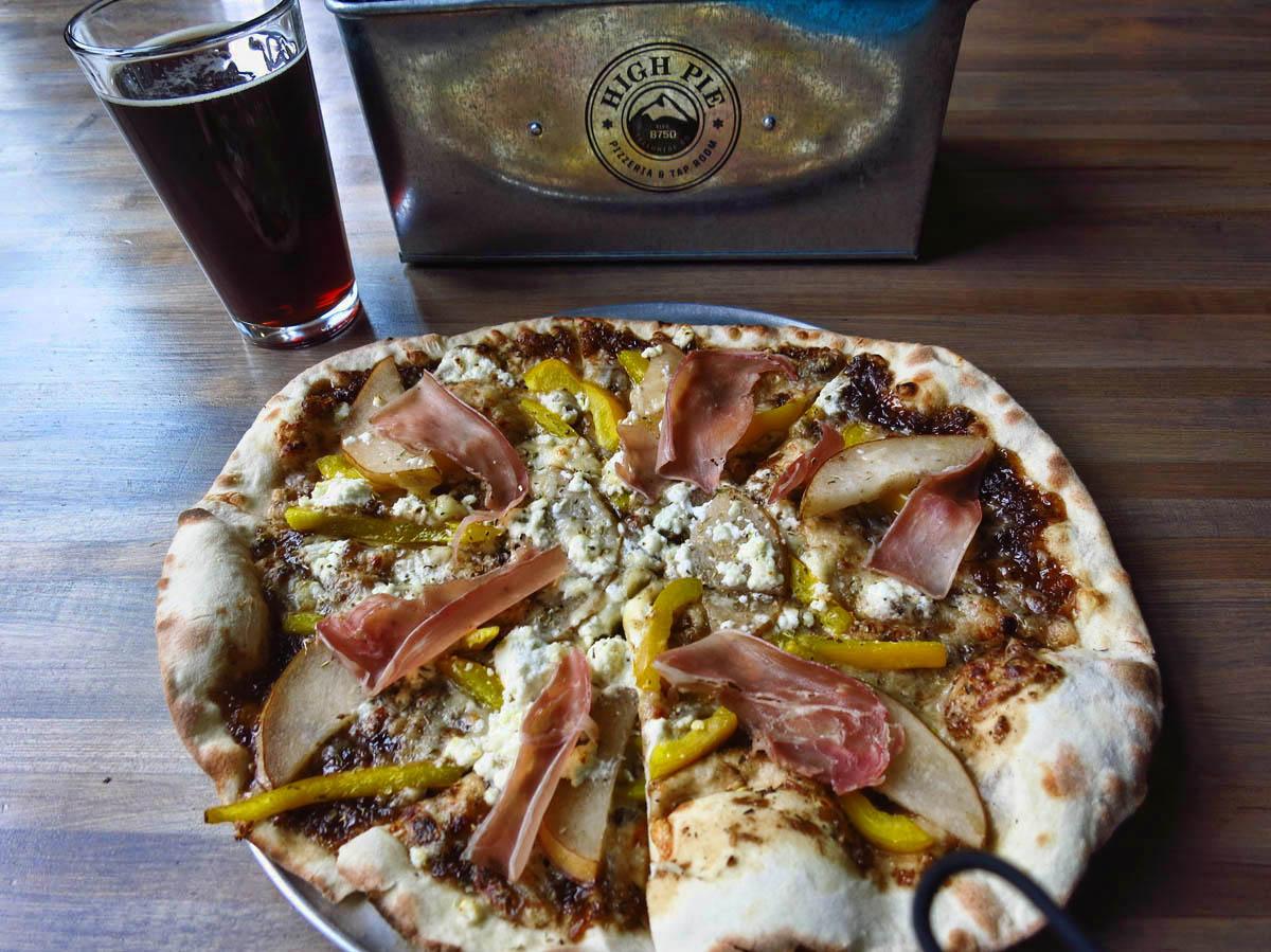 """Railjam"" Pizza and Black Jack Porter from High Pie."
