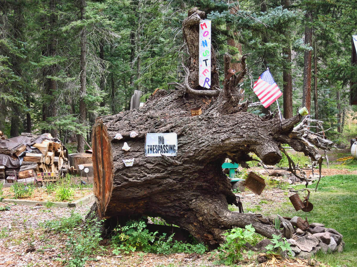 "A hundred signs and a ""tree trunk monster"" warn to stay on the trail!"