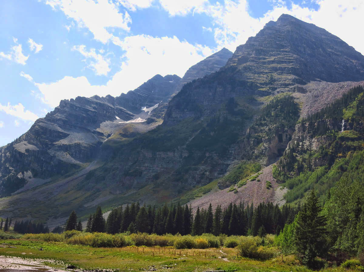 We get our first look at Maroon Bells, two twin 14ers.
