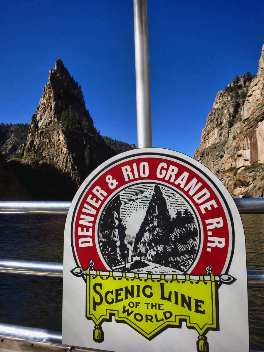 This is the iconic Curecanti Needle, 700 ft granite spire, which was featured in the logo for the Durango & Rio Grande RR.