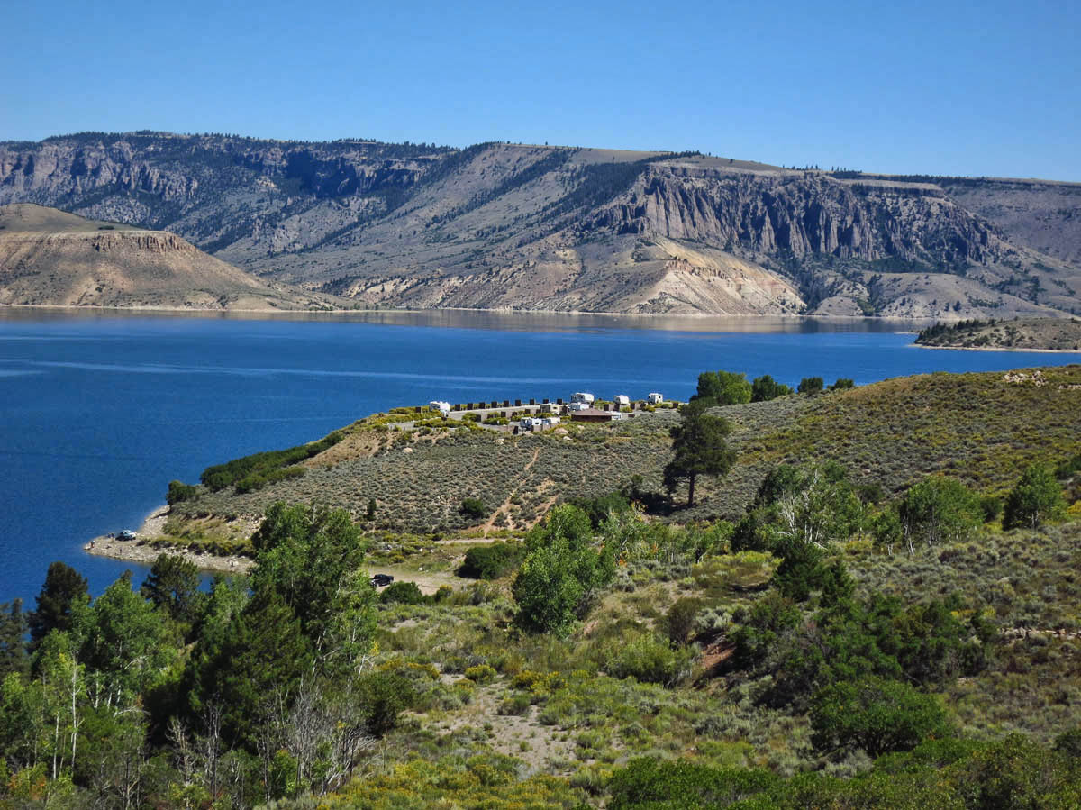 Lake Fork Campground overlooking Blue Mesa Reservoir makes good base for boat tour.  Note Winnie on far right.