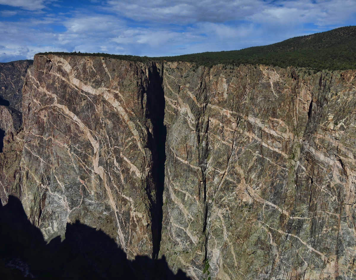 The Painted Wall, the park's most iconic view, highest cliff in Colorado, 2,500 ft from river to rim.
