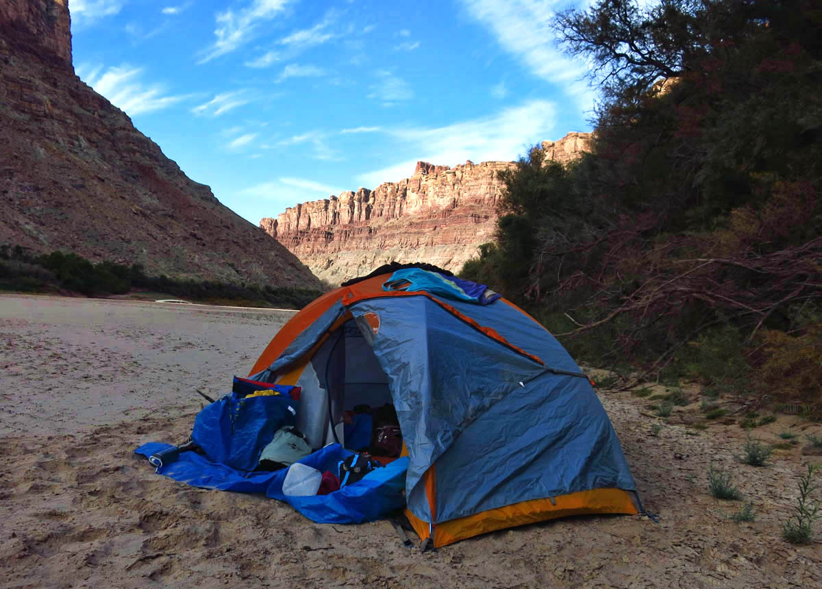 """Sunrise near the Confluence Camp.  I am grateful it is the last morning I have to try to tame the contents of the """"exploding tent."""""""