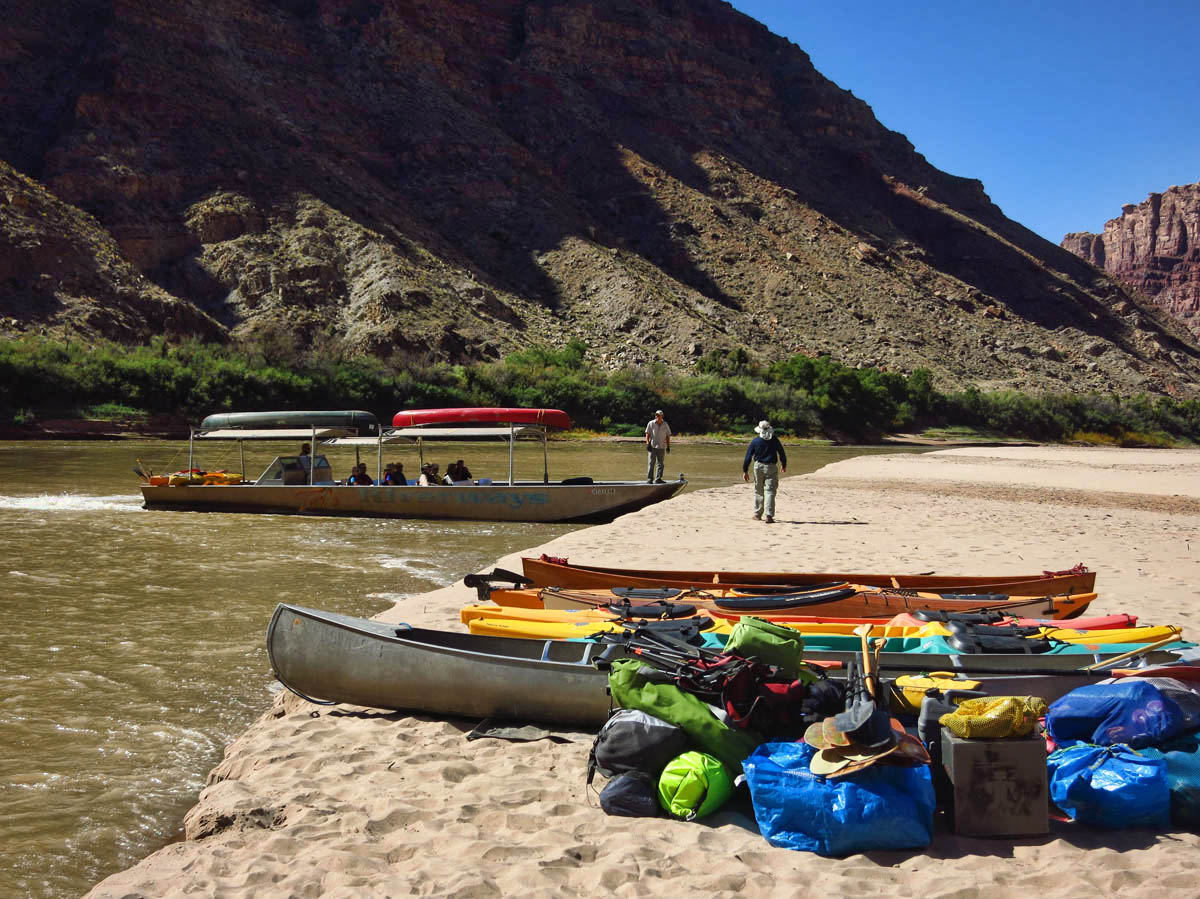 """Our """"taxi,"""" Tex's Riverways Jet boat arrives.  Kayaks and gear will be loaded on the jet boat for the 2 hour ride back up the Colorado River."""